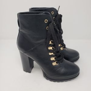 JUSTFAB Ribonea Black Lace-Up Platform Booties